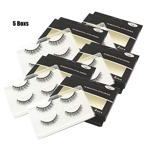 Geschwungene False-Eyelashes, handgefertigte Stereo 3D False Eyelashes Plastic Cotton Traps Dress Up Daily Makeup wiederverwendbar 10 Pairs (Duos Up Dress)