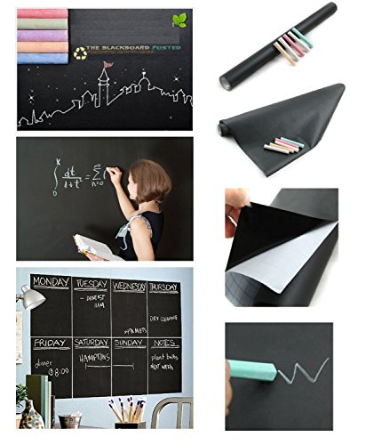 HOUSE OF QUIRK Black Board Vinyl Wall Sticker Removable Decal Chalkboard (45...