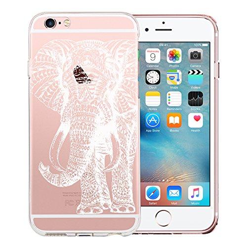 Original Lanboo® Motiv Muster Druck TPU Silikon Case Cover Hülle Handytasche Schale Schutzhülle Tasche für Apple iPhone SE - Design 39 - Mandala Orient Indien RIESEN Elefant Elephant Rüsseltier Weiß