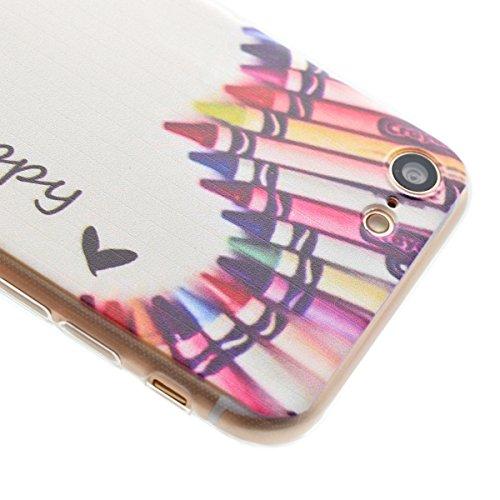 Etsue Case Pour iPhone 7 Plus,Ultra-minces TPU Silicone Coque Housse Pour iPhone 7 Plus,Diux Chir Housse Peinture Colorée Cover pour iPhone 7 Plus + 1 x Bleu stylet + 1 x Bling poussière plug (couleur crayon de couleurs