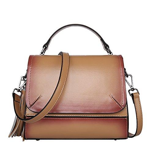 DISSA EQ0856 Damen Leder Handtaschen Satchel Tote Taschen Schultertaschen Braun