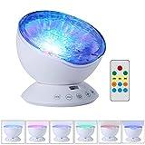 Lumière de Nuit Vagues Océan 7 Modes avec Télécommande Mini Enceinte Intégrée Décoration pour Chambre Enfants (Blanc)
