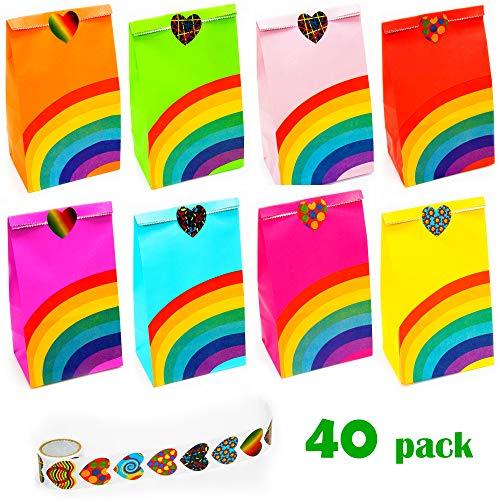 NIMU 40 Stück Regenbogen-Partytasche mit 100 Herzaufklebern, All-in-One-Paket Partyartikel Multi-Use für Mädchen Jungen Kids Party Supplies Prime (Supplies Kids Party)