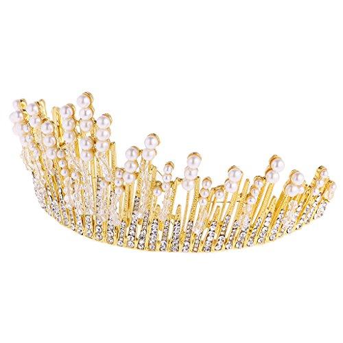 MagiDeal Mädchen Blume Perlen Stirnband Kopfstück Haarschmuck Kostüm - Perlen Gold