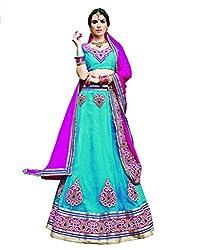 DesiButik Net Lehenga Choli (LGJ1465AAA_Blue_Free Size)