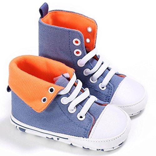 Hunpta Baby Kleinkind niedliche Krippe Schuhe Slip On Komfort Schuhe Canvas High tops weiche Anti Rutsch Schuhe (Alter: 6 ~ 12 Monate, Camouflage) Blau
