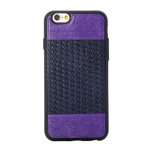 Apple iPhone 6/6S 4.7 hülle, Voguecase Schutzhülle / Case / Cover / Hülle / TPU+PU Gel Skin Mit Knopf (Weben Muster/Schwarz und Pink) + Gratis Universal Eingabestift Weben Muster/Lila und Saphir