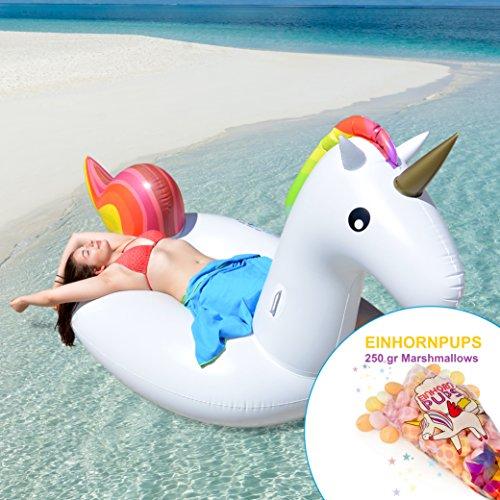 p:os Aufblasbares Riesen-Einhorn ca. 270 cm + 250 gr EINHORNPUPS Marshmallows bunt - Super Spaß für Kinder und Erwachsene - lustiges Must-have am Strand und im Schwimmbad - Marshmallows magisch lecker zum Naschen Verschenken Verzaubern (Pool-party Gam)