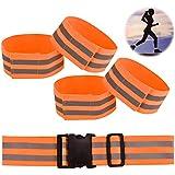 Outgeek Reflective Belt Walking Belt Adjustable Elastic Running Belt Safety Belt with 4 Reflective Armband