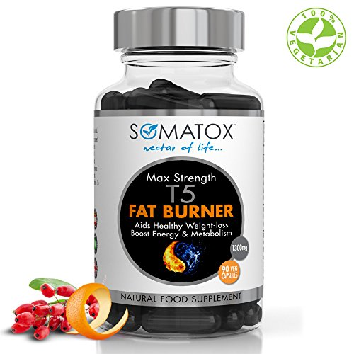 SOMATOX T5 FAT BURNER – Natural Weight Loss • Burn Fat • Slimming Diet Pills • Boost Energy • Thermogenic Supplement ★ Max Strength 1300mg / 90 Veg Caps 30 Day Supply ★ Made In UK (FREE eBOOK)