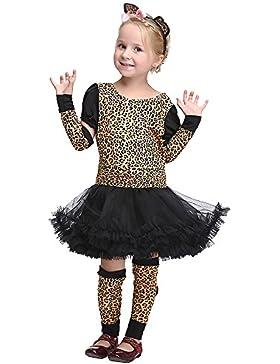 VENI MASEE Mädchen Leopard Dschungel Gepard Tier Cosplay Abendkleid Halloween Kostüm Set,S-XL