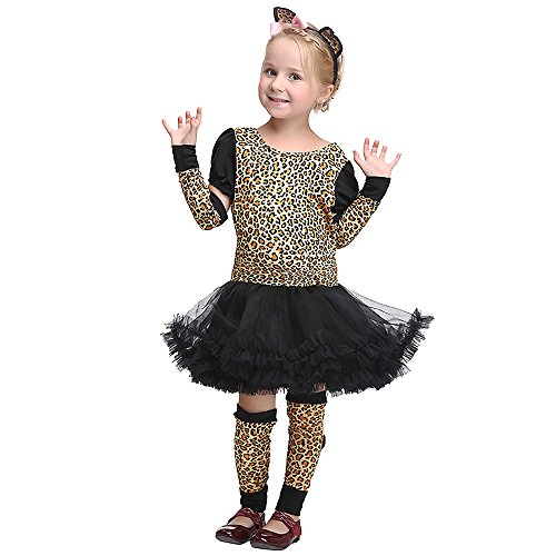 VENIMASEE Mädchen Leopard Dschungel Gepard Tier Cosplay Party Abendkleid Halloween Kostüm Set S-XL