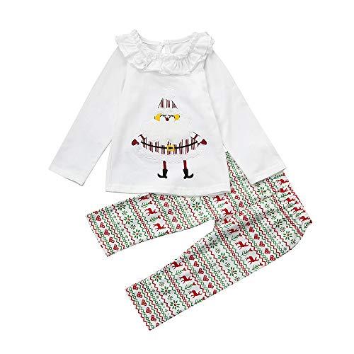 2Pcs Infant Babybekleidung Bekleidungssets Schlafanzüge Babymode Baumwolle Oberteile Babyausstattung Baby Mädchen Santa Tops + Hosen Weihnachten Outfits Set Kleidung Felicove