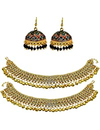 High Trendz Combo Of Traditional Meenakari Jhumki With Ethnic Gold Plated Anklets With Ghungroos For Women & Girls - B06XX67JFB