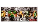 GRAZDesign 100458_002_01_04 Glasbild aus Acryl | Wandbild mit Spruch Kreative Küche | Küchenbild als Wand-Dekoration für Küche/Esszimmer (125x50cm)