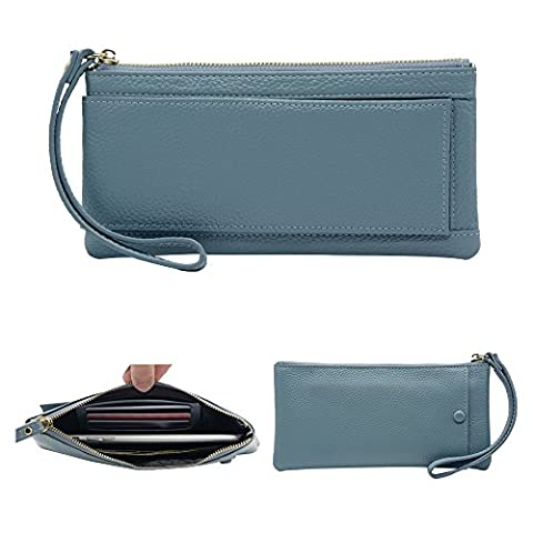 Befen Mini Full Grain Leather Wristlet Phone Wristlet Wallet Clutch with Wrist Strap / Card slots/ Cash pocket- Fit iPhone 7S Plus/Samsung Note 5 –Light Blue