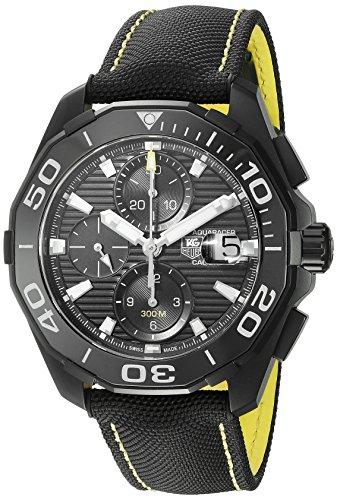 TAG Heuer aquaracracer Swiss automático acero inoxidable y del hombres lienzo reloj de vestido, Color negro (modelo: cay218a. FC636