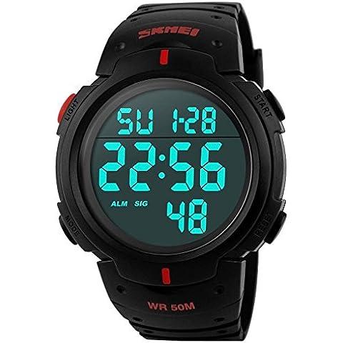 downj semplice orologio sportivo outdoor, con display digitale, da uomo, multifunzione, colore: rosso
