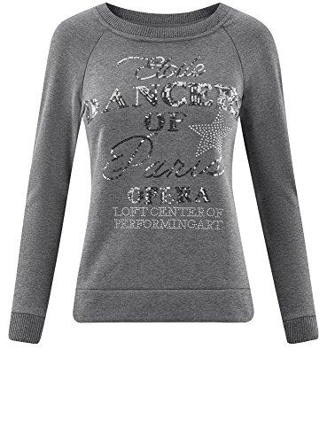 oodji Ultra Damen Sweatshirt mit Pailletten und Metall-Strasssteinen Grau (2500Z)