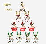 Sayala Lot de 48 Décoration de Noël - Noël Cerf étoile Bell Festive Support à Muffin Cupcake Décorations pour gâteaux - Noël Table de fête d'anniversaire gâteau comestibles Décorations de Mariage