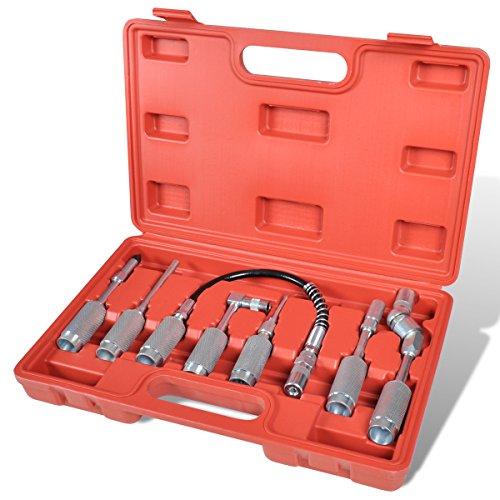 Adapter und Zubehörsatz für Fettpressen, 7 tlg. Set, Panzerschlauch Verlängerung Winkelaufsatz