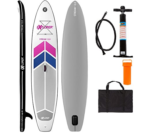 EXPLORER SUP 366x81x15cm STREAM 12.0 inflatable Stand Up Paddle Board +Pumpe+Tragetasche iSUP aufblasbar Board Paddle Surfboard surfen