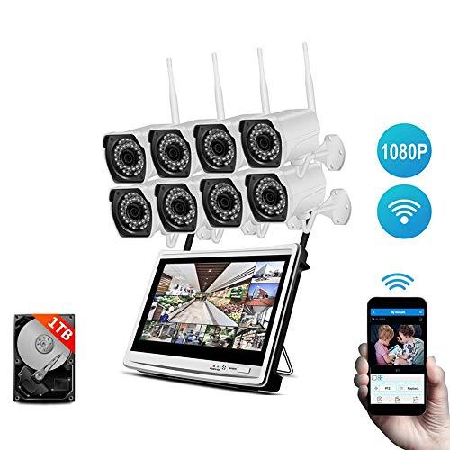 HYLH berwachungssystem CCTV Uuml;berwachungskamera Set 1080P, 8 Kanauml;le Kit w / 8PCS 1080P Wetterfeste IP-Kameras,Vorinstallierte 1-TB-Festplatte,A79WJ20