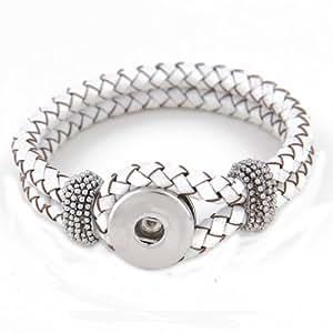 Morella Damen Click-Button Armband Leder geflochten weiss