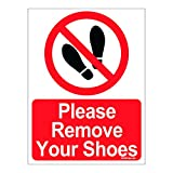 #7: Clickforsign Please Remove Your Shoes Self Adhesive Vinyl Sign Sticker For Walls And Doors