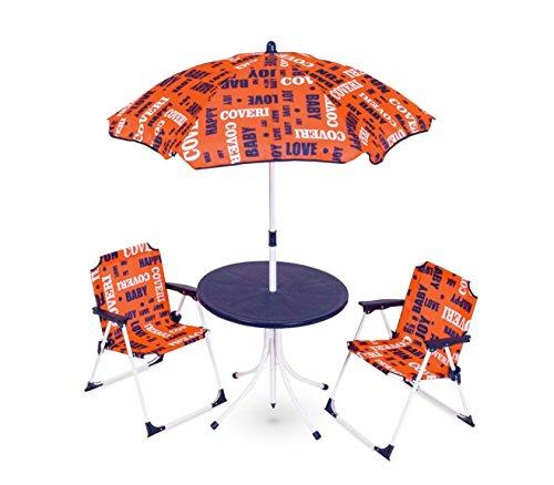 Set da giardino per bambini 3177110 coveri baby tavolino sedie e ombrellone. media wave store (blu)