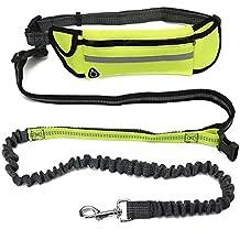 Fypo Mano libres Correa de Perro Extensible de 151 a 192 cm Amortizable y Reflejable para Mascotas hasta 30kg Bolsa de Almacenamiento Impermeable Cintura Ajustable para Correr, Bicicleta, Deporte, Running (Fluorescencia)
