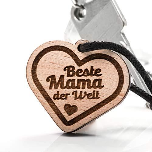 treeforce Beste Mama Muttertag Schlüsselanhänger, Halskette oder Auto- Anhänger 3in1 DIY Schmuck aus Buchenholz