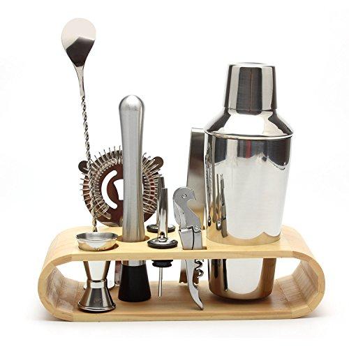 9 Stk Edelstahl 550 ml Cocktail Shaker Set Jigger Mischlöffel Tong Barware Barkeeper Werkzeuge mit Holz Lagerung Stehen für Bars Home Mixgetränke