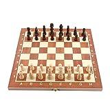 14 Zoll faltbares hölzernes Schach-Spiel-Brett-Set mit magnetischen gefertigten Stücken und Lagerung im hölzernen Brett