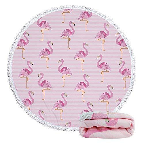 Tapisserie Rund Strandtuch Yoga Picknick Matte Roundie Tischdecke Wasser saugfähiger Frottee Handtuch mit Quasten Pink Flamingo ()