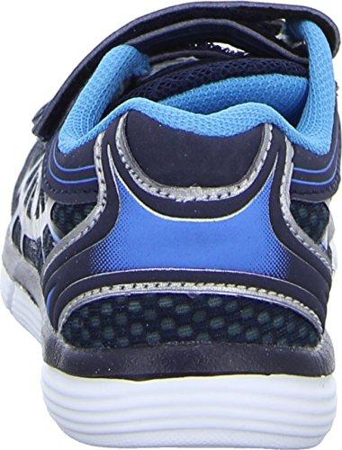 Sneakers HM-2529 Jungen Klettverschluss/Slipper Halbschuh sportlicher Boden Schwarz (Schwarz/Blau)