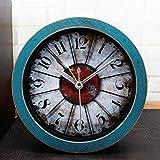 CWLLWC tischuhr standuhr, Vintage Retro Eisen Uhr kreative alte Stereo-hölzerne Desktop-Mute Sit Uhr 12 * 12cm