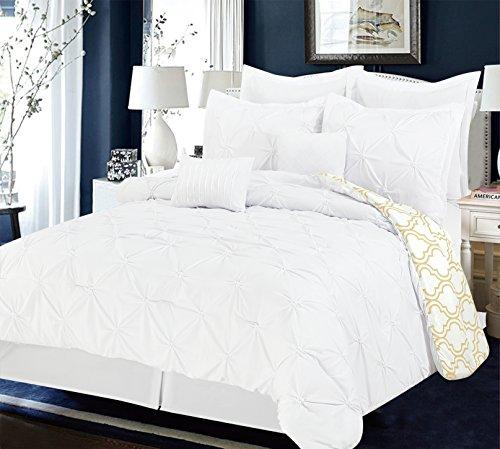 Unique Home 8Stück Maison Pinch Falte quatrfoil Print Wende Bett in Einem Beutel Tröster Set King Grau King Weiß/Taupe (Weiß Tröster Set King)