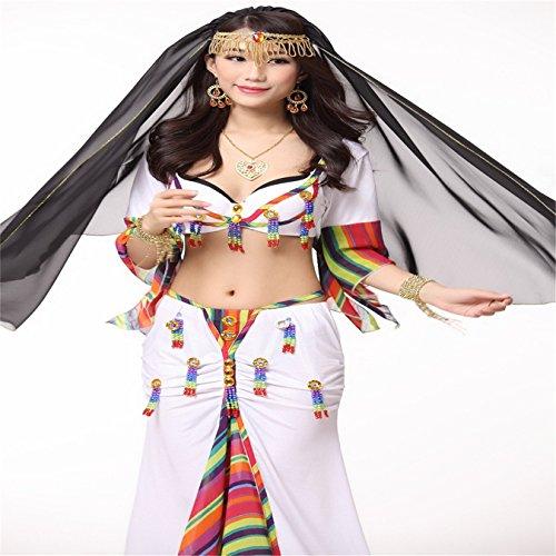 105cmx 99cm Danse du ventre costume Beaded Chain Veil Head Écharpe Costume Accessories Black