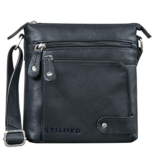 STILORD 'Cameron' Kleine Leder Umhängetasche Vintage Messenger Bag Ledertasche DIN A5 8,4 Zoll Tablettasche Handtasche Cross Body Bag Retro Ledertasche, Farbe:schwarz -