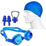 Neulife Swimming Set # Cap, Google, Ear Plug & Nose Clip Swimming Kit (Blue), silicon