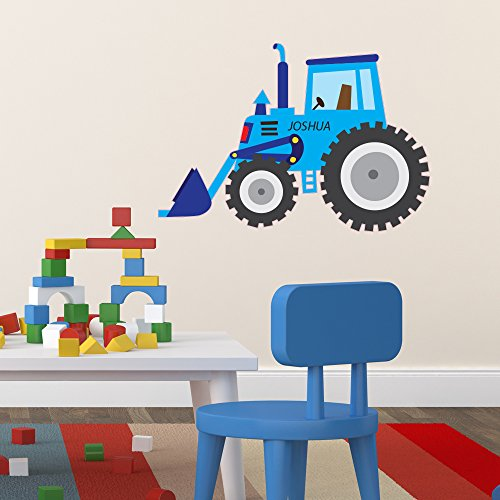 Personalised BLUE Tractor Digger Wall Sticker Decal Mural Transfer - Perfect for Boys Girls Bedroom Nursery Playroom Bathroom