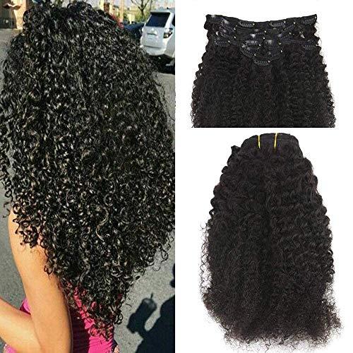 erlängerung 16 zoll 100g 7Pcs Pro Paket Natürliches Schwarzes Clip in Natural Hair Clip in Afro ()