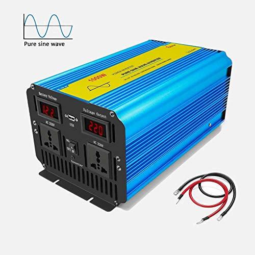 Wechselrichter Reiner Sinus 1000w Spannungswandler 12v auf 230v, Konverter Auto mit 2 AC Steckdose und USB Port, Bildschirm LCD, Spitzenleistung 2000W Inverter für Caravan/Trailer/Wohnmobil/Boot