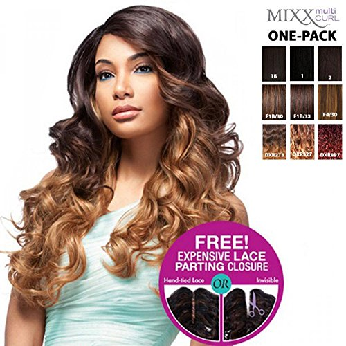 [4 Wefts Complete Set] Sensationnel Too XL Mixx - European Wave - Human Hair Blend Weave (One Pack Complete) (4 (brown))