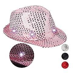 Idea Regalo - Relaxdays Cappello da Festa con Paillettes, 6 Luci a LED, Glitter, da Uomo e Donna per Adulti, Rosa, 10023897_52