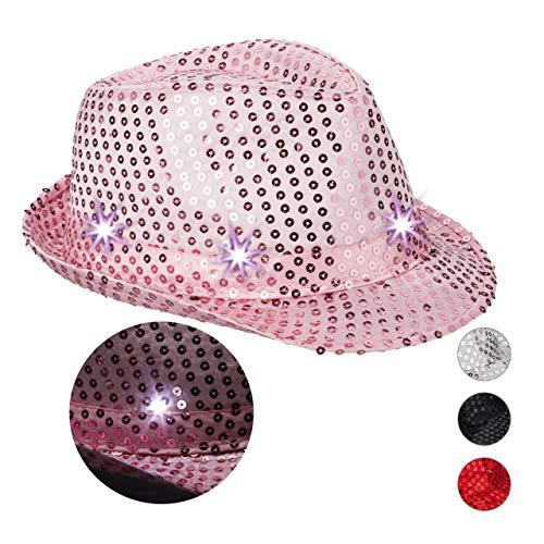 Relaxdays Cappello da Festa con Paillettes, 6 Luci a LED, Glitter, da Uomo e Donna per Adulti, Rosa, 10023897_52