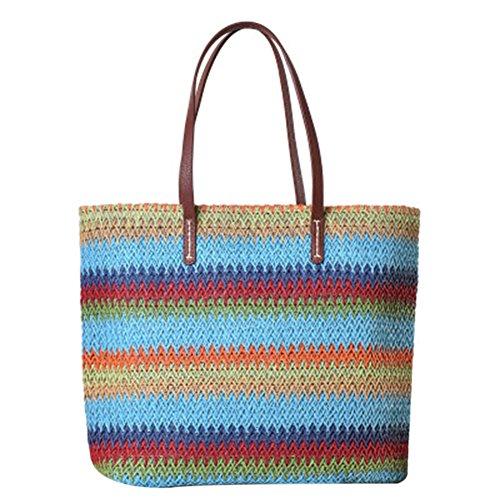 Frauen Retro Stroh Handtasche Strandtasche Kontrast Farbe Streifen Handtasche Sommer Handmade Gestrickte Schultertasche Blau (Pom Stripe Top)
