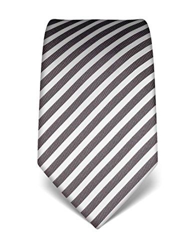Vincenzo Boretti Herren Krawatte reine Seide gestreift edel Männer-Design gebunden zum Hemd mit Anzug für Business Hochzeit 8 cm schmal/breit anthrazit