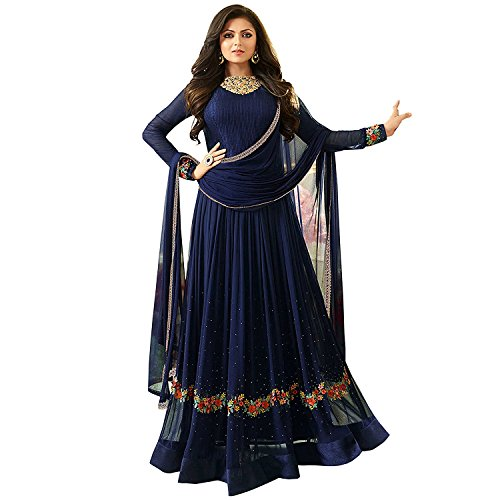 Skyblue Fashion Women's Special Party Wear Blue Color Faux Georgette Embroidery and...